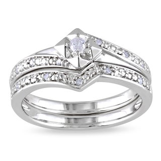 Miadora Sterling Silver 1/10ct TDW Diamond Bridal Set (More options available)