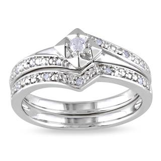 miadora sterling silver 110ct tdw diamond bridal set - Silver Diamond Wedding Rings