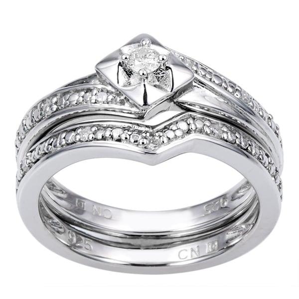 Miadora Sterling Silver 1/10ct TDW Diamond Bridal Set (H-I, I2-I3)