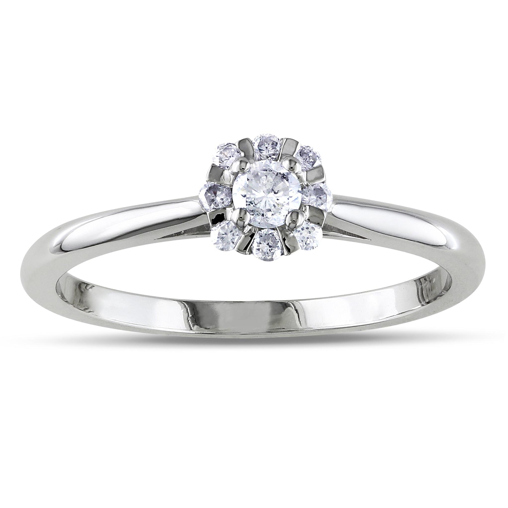 Miadora 14k White Gold 1 10ct Tdw Diamond Flower Ring H I