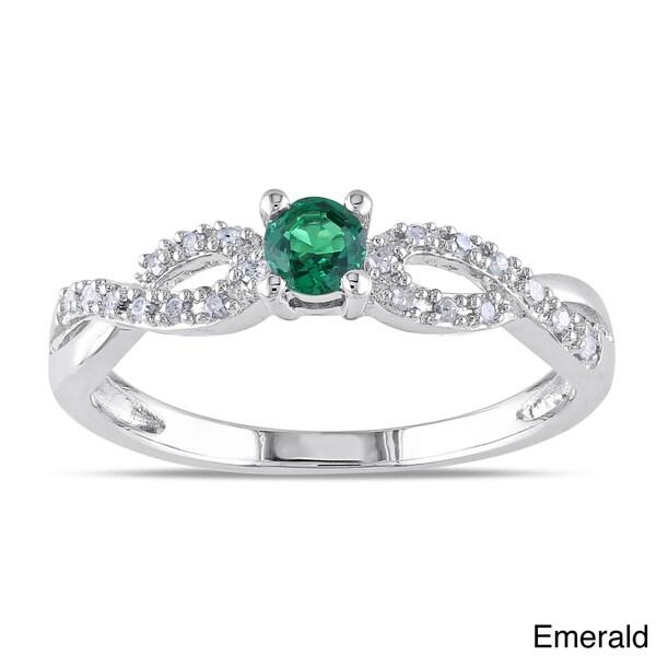 Miadora Silver Created Gemstone and 1/10ct TDW Diamond Ring (H-I, I2-I3)