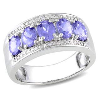 Miadora Sterling Silver Tanzanite and Diamond Accent Ring (H-I, I3)