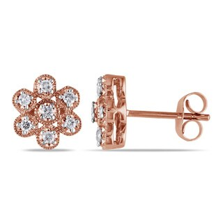 Miadora 10k Rose Gold 1/4ct TDW Diamond Flower Earrings (G-H, I1-I2)