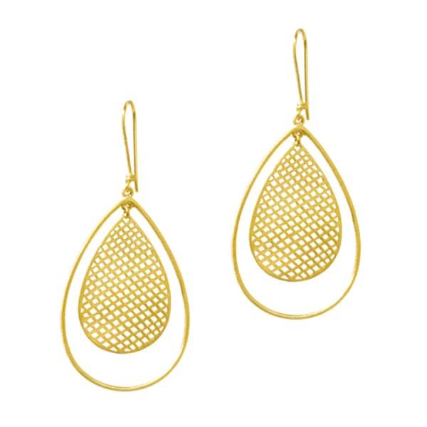 Beverly Madison Goldplated Sterling Silver Teardrop Mesh Earrings