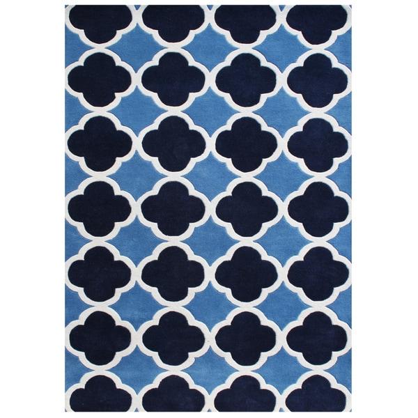 Alliyah Handmade Azure Blue New Zealand Blend Wool Rug (5' x 8')