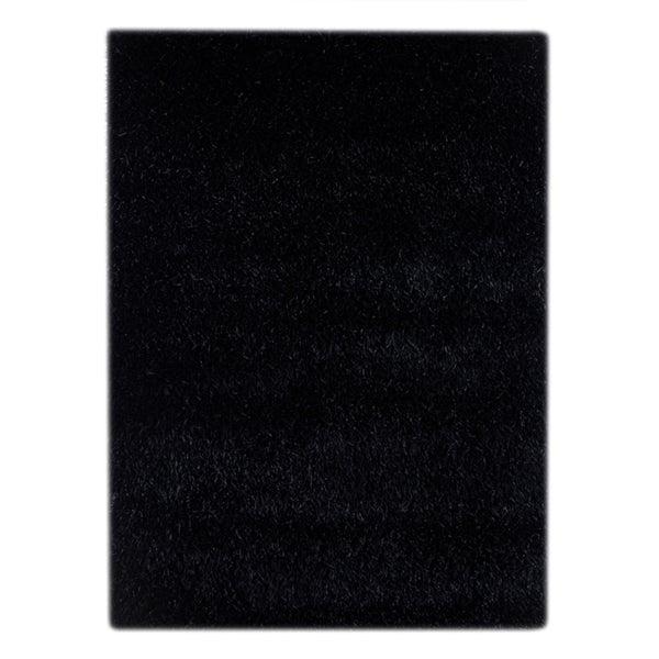 Hand-woven Solid Ebony Rug (5'6 x 7'6)