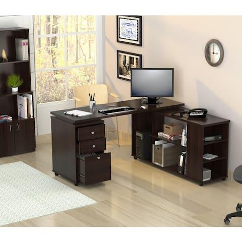 Inval L-shaped Computer Workstation Desk