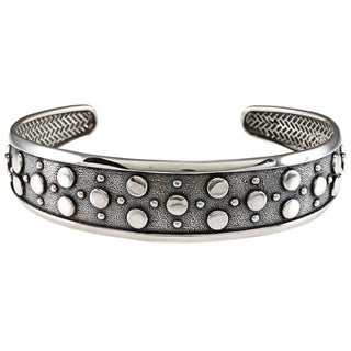 LucyNatalie Sterling Silver Flat Circle Flexible Cuff Bracelet