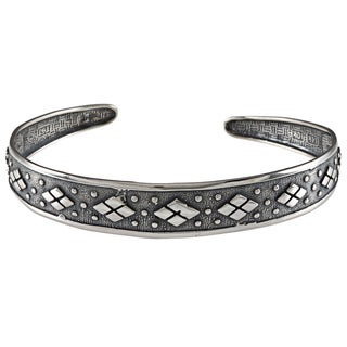 LucyNatalie Sterling Silver Checker Flexible Cuff Bracelet