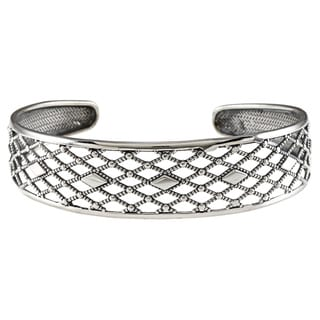 LucyNatalie Sterling Silver Rope and Checker Flexible Cuff Bracelet