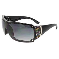 Women's Rhinestone Shield Sunglasses