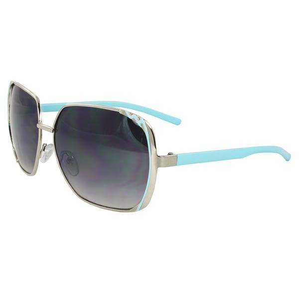 Women's Silver/ Blue Square Sunglasses