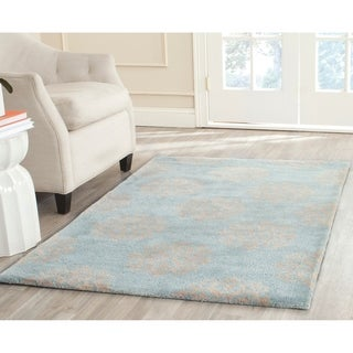 Safavieh Handmade Soho Medallion Light Blue Wool Rug (12' x 15')