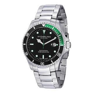Stuhrling Original Men's Regatta Elite Black-Dial Stainless-Steel Bracelet Watch