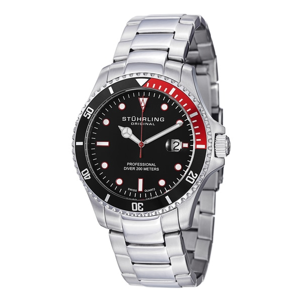 Stuhrling Original Men's Regatta Elite Unidirectnial Watch with Stainless Steel Bracelet
