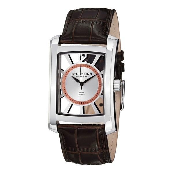 Stuhrling Original Men's Gatsby Skeleton Quartz Watch with Brown Leather Strap