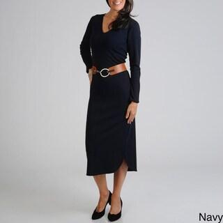 Lennie for Nina Leonard Women's Belted Dress