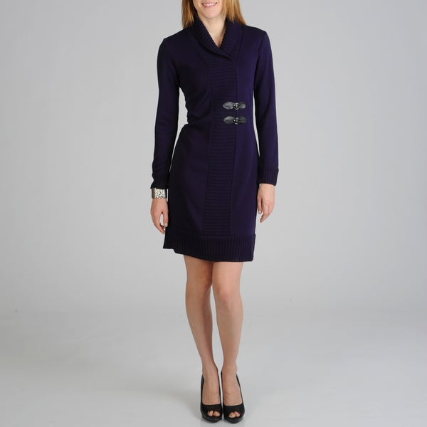 Lennie for Nina Leonard Women's Purple Knit Dress