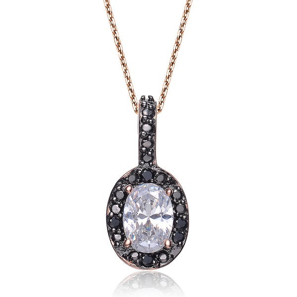 Collette Z Cubic Zirconia and Sterling Silver Rose and Black Oval Pendant