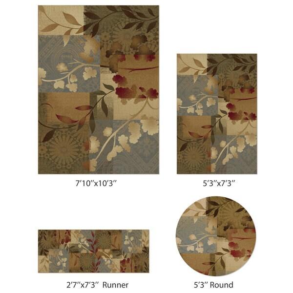 Alise Infinity Blue 4-Piece Floral Rug Set