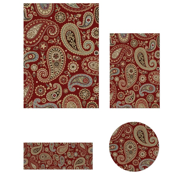 Impressions Collection Red 4-piece Rug Set