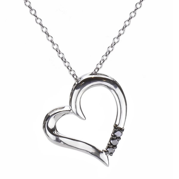 Sterling Silver 1/10ct TDW Three Stone Black Diamond Heart Pendant