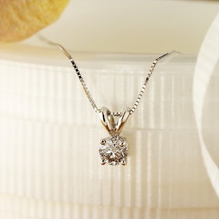 Auriya 14k Gold Clarity-Enhanced Diamond Solitaire Necklace