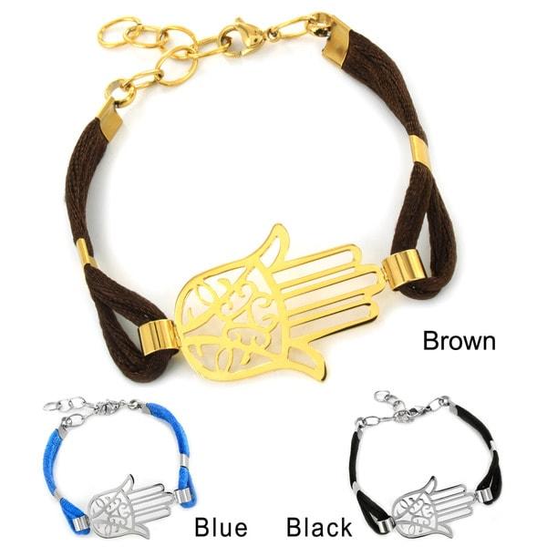 Stainless Steel Hamsa with Black Cotton Cord Bracelet