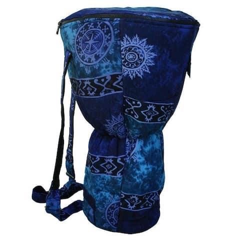 Handmade Blue Cloth Djembe Drum Backpack (Indonesia)