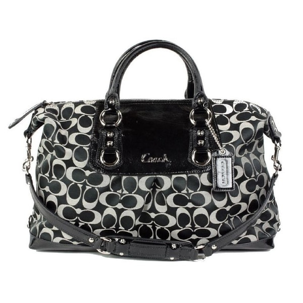 Coach 'Ashley' Large Signature White/ Black Satchel