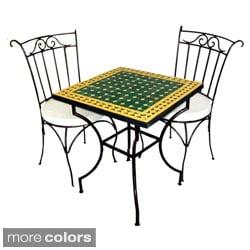 Handmade Square Iron 3-piece Mosaic Bistro Dining Table Set (Morocco)