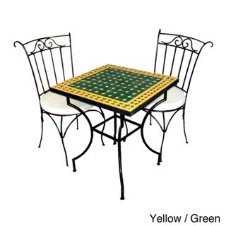 Handmade Square Iron 3-piece Mosaic Bistro Dining Table Set (Morocco)