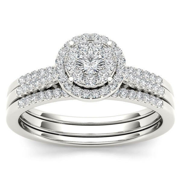 De Couer 10k Gold 1/2ct TDW Diamond Bridal Ring Set (H-I, I2)