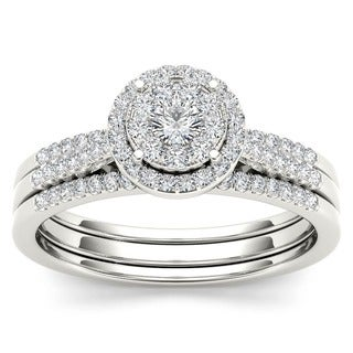 De Couer 10k Gold 1/2ct TDW Diamond Bridal Ring Set