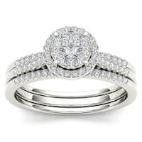 De Couer 10k Gold 1/2ct TDW Diamond Bridal Ring Set