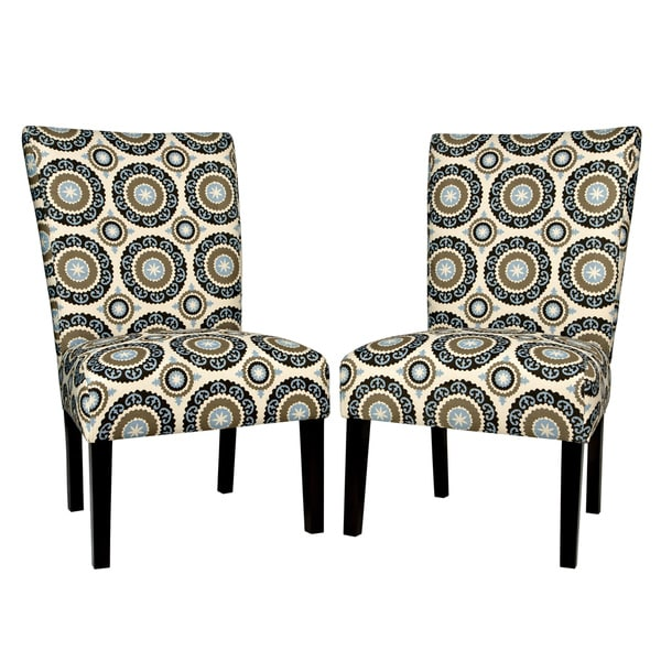 Better Living Duet Modern Pinwheel Cream and Sky Blue Upholstered Armless Dining Chairs (Set of 2)