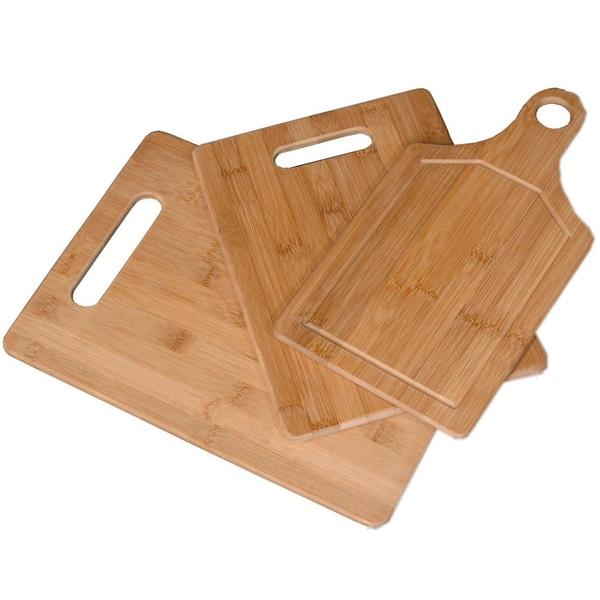 3 Piece Eco-Friendly Bamboo Cutting Board Set