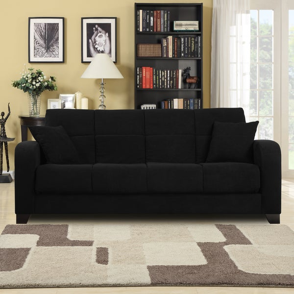 Craig Black Microfiber Convert A Couch Futon Sofa Sleeper Free Shipping Today