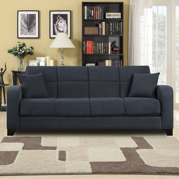 Shop Craig Gray Microfiber Convert A Couch Futon Sofa Sleeper Free Shipping Today Overstock