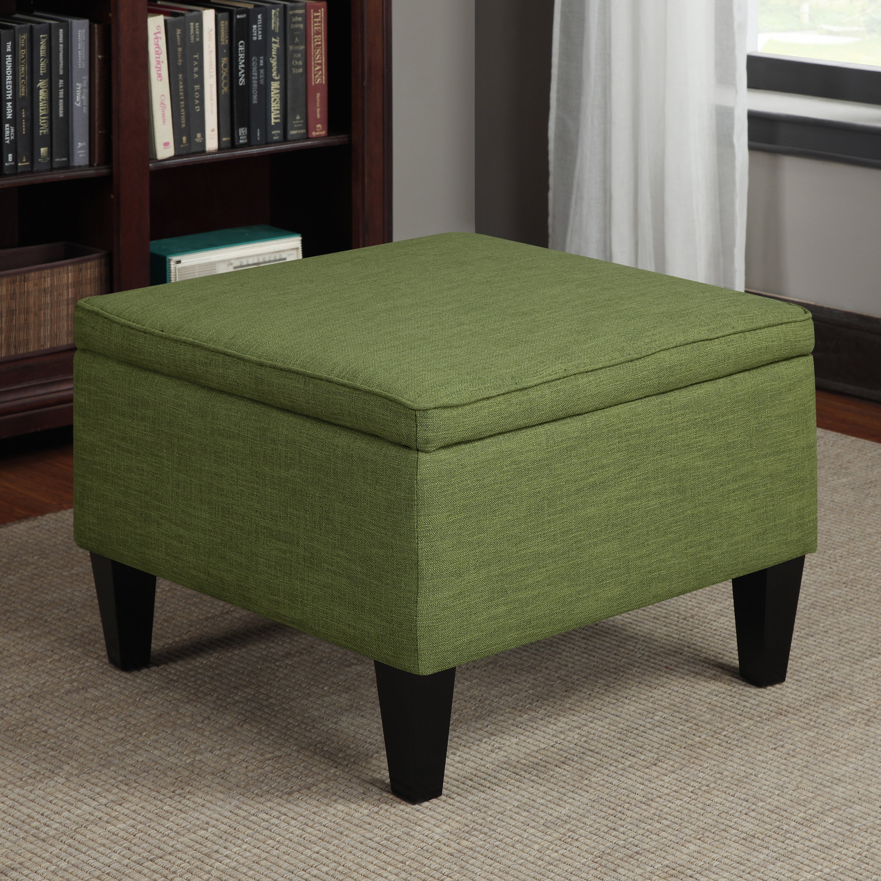 Handy Living Engle Apple Green Linen Table Storage Ottoman