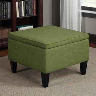 Handy Living Engle Apple Green Linen Table Storage Ottoman