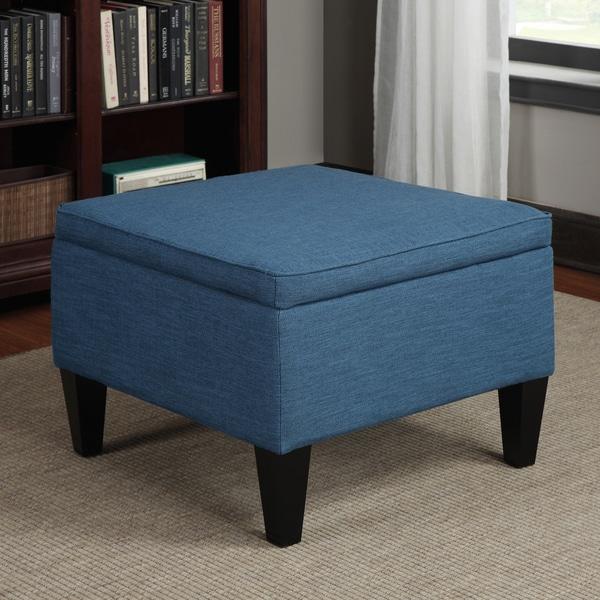Portfolio Engle Caribbean Blue Linen Table Storage Ottoman