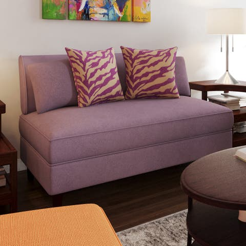 Porch & Den Pope Street Amethyst Purple Linen Armless Loveseat
