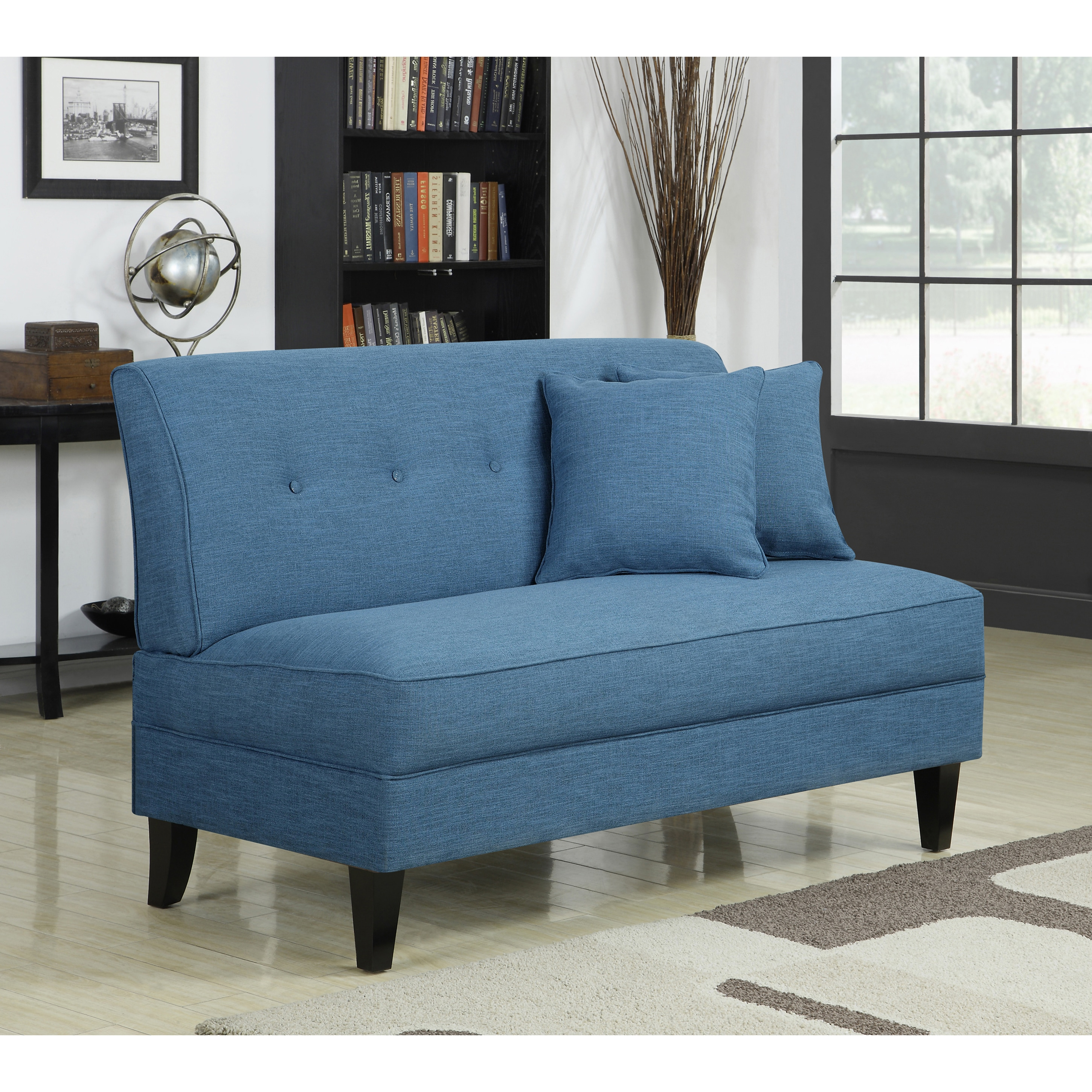 Shop handy living engle caribbean blue linen armless loveseat free shipping on orders over 45 overstock com 7291878
