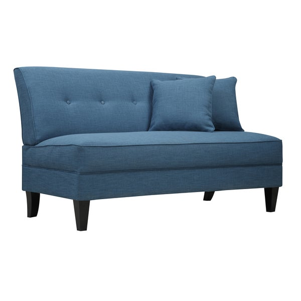 handy living engle caribbean blue linen armless loveseat free shipping today