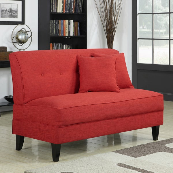 handy living engle sunset red linen armless loveseat
