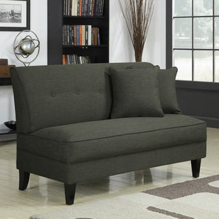 Handy Living Engle Basil Green Linen Armless Loveseat - Thumbnail 0