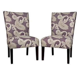 Handy Living Bradford Feathered Paisley Amethyst Purple Upholstered Armless Dining Chairs (Set of 2)