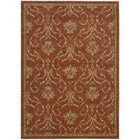 Nourison Liz Claiborne Radiant Impression Damask Crimson Rug (9'6 x 13'6) - 9'6 x 13'6