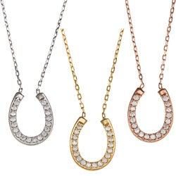 La Preciosa Sterling Silver Cubic Zirconia Horseshoe Necklace